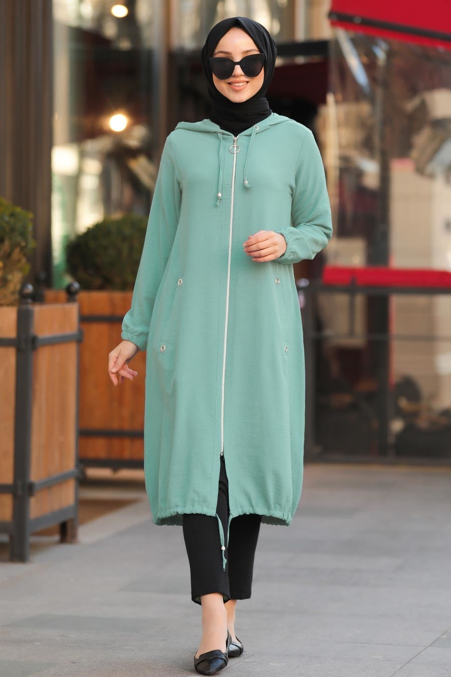Women's Zipped Mint Green Modest Tunic