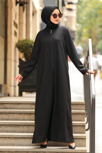 Women's Zipped Black Modest Abaya