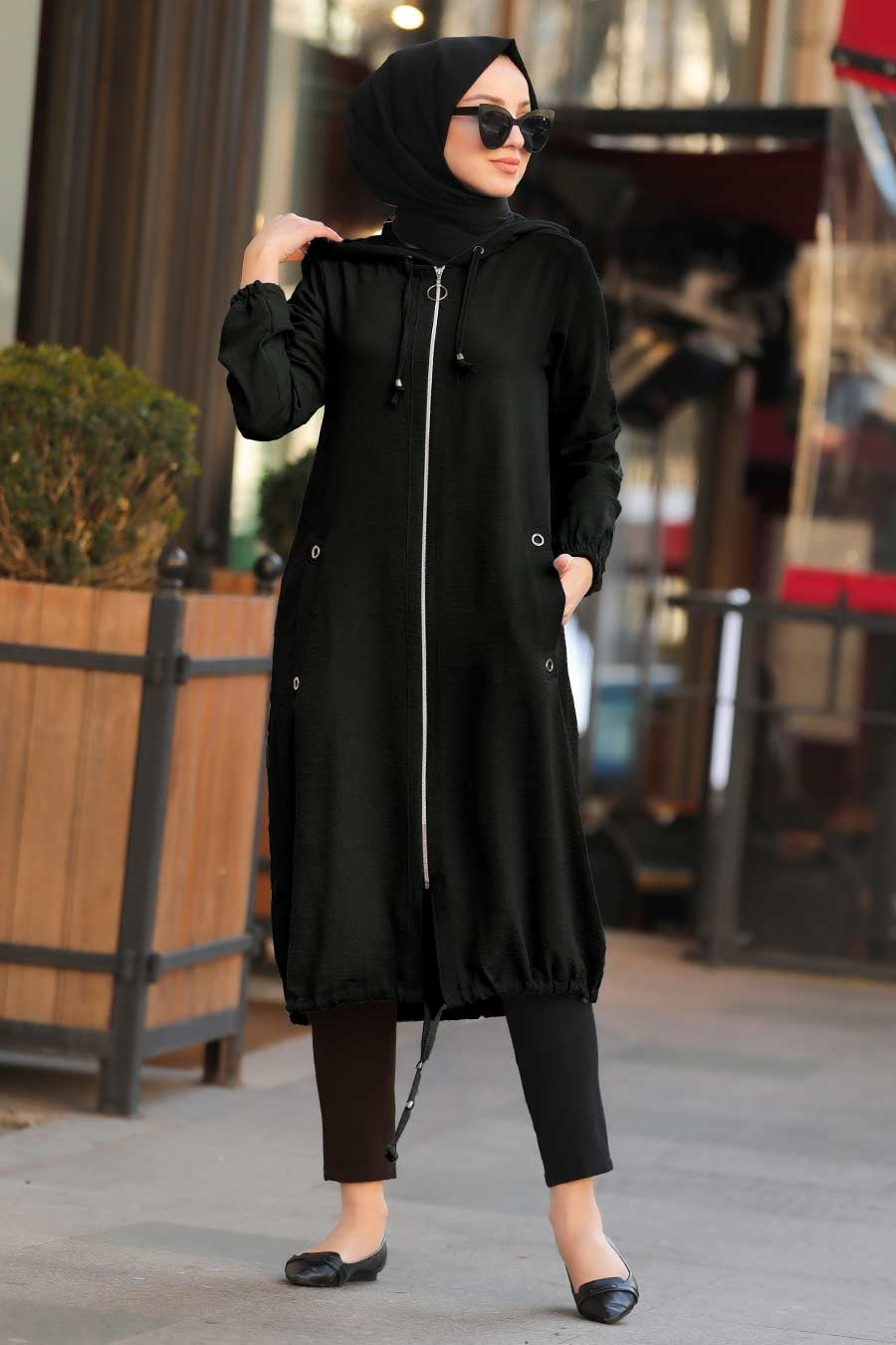 Women's Zipped Black Modest Jacket
