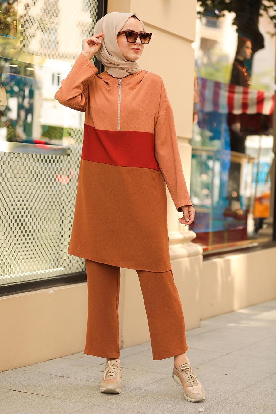 Women's Zipper Collar Color Block Ginger Modest Tunic & Pants Set