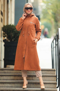 Women's Zipped Ginger Modest Coat