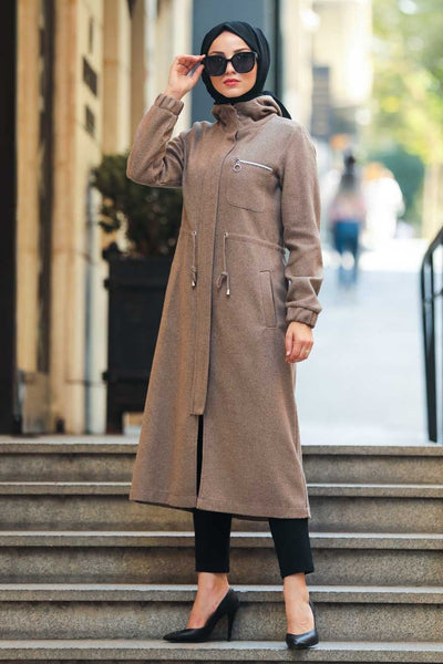 Women's Zipped Mink Modest Coat