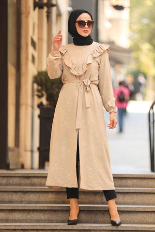 Women's Frill Detail Long Beige Modest Tunic