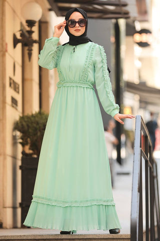 Women's Frill Detail Mint Green Modest Long Dress