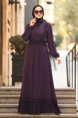 Women's Frill Detail Purple Modest Long Dress