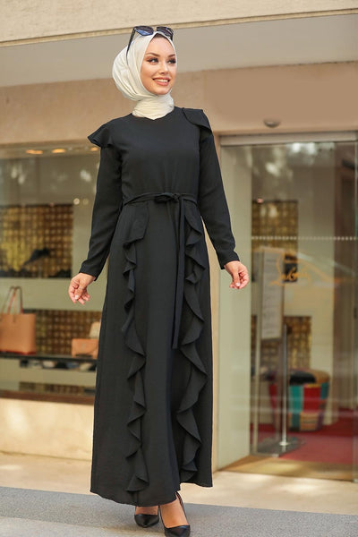 Women's Frill Black Modest Long Dress
