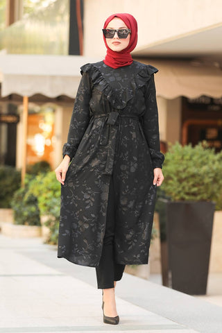 Women's Frill Patterned Long Black Modest Tunic