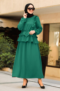 Women's Frill Detail Green Modest Blouse & Skirt Set