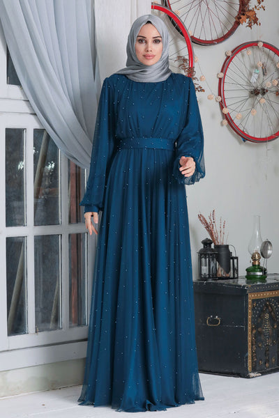 Women's Pearl Indigo Modest Evening Dress