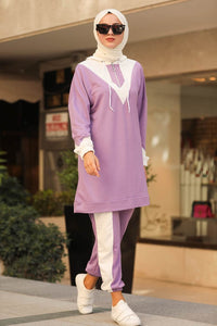 Women's Hooded Lilac Modest Sport Tunic & Pants Set