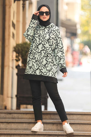 Women's Hooded Printed Mint Green Modest Tunic