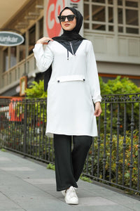 Women's Hooded White Modest Tunic & Black Pants Set
