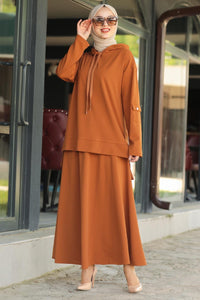 Women's Hooded Ginger Modest Tunic & Skirt Set