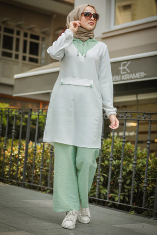 Women's Hooded White Modest Tunic & Turquoise Pants Set
