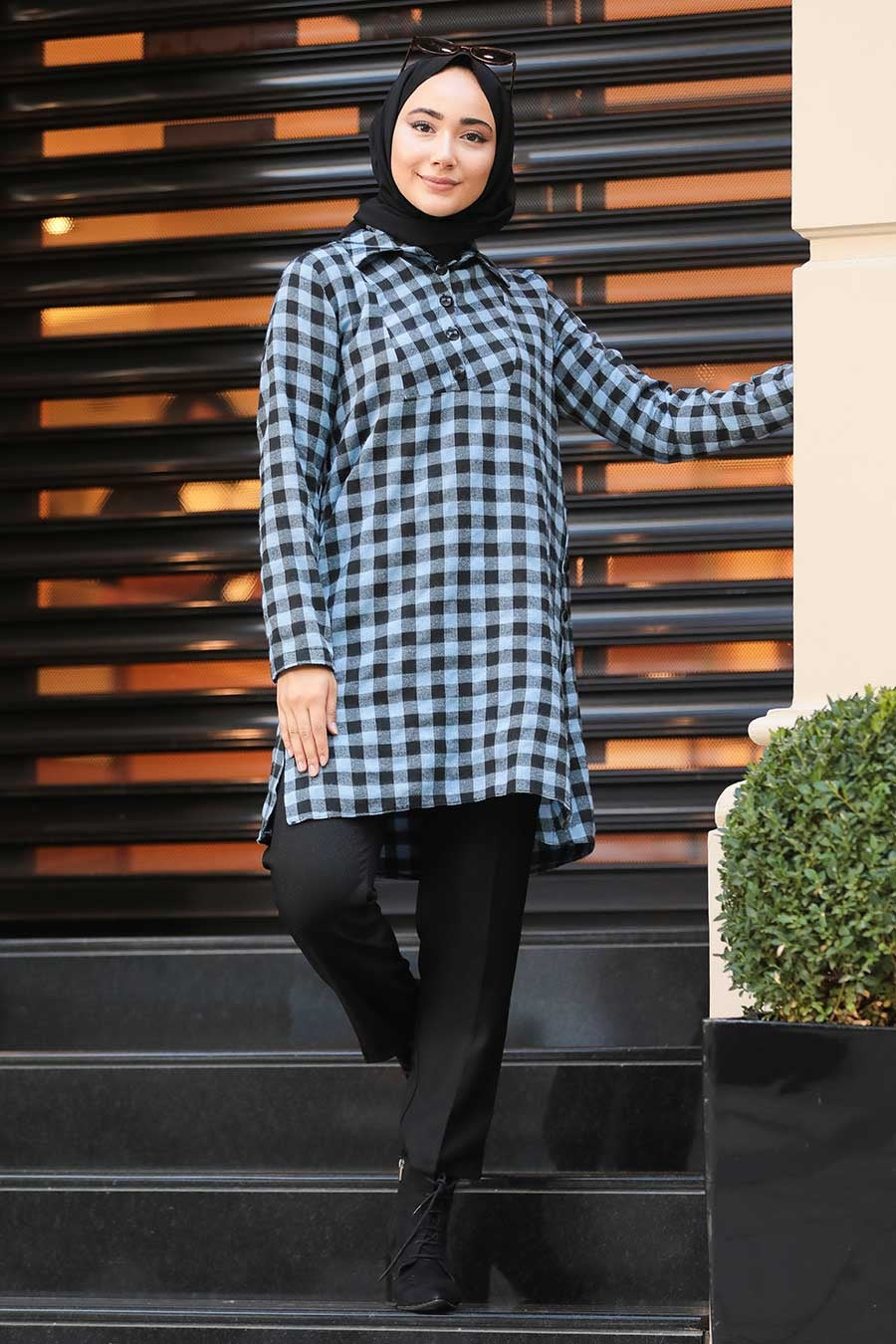 Women's Patterned Blue Modest Tunic