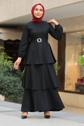 Women's Ruffle Hem Black Modest Long Dress