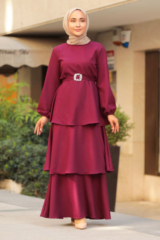 Women's Ruffle Hem Maroon Modest Long Dress
