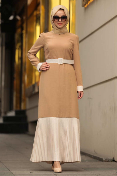 Women's Belted Beige Modest Long Dress
