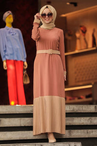 Women's Belted Dark Ginger Modest Long Dress