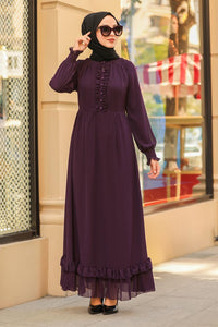 Women's Elastic Sleeve Purple Modest Long Dress