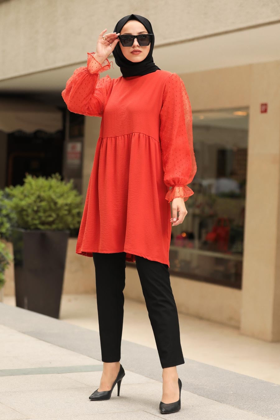 Women's Sleeve Detail Tile Red Modest Tunic