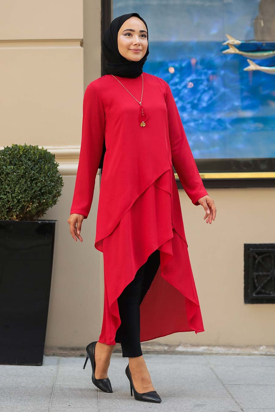 Women's Necklace Accessory Red Modest Tunic