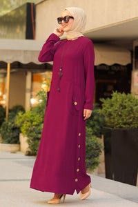Women's Necklace Accessory Maroon Modest Long Dress