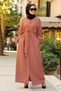 Women's Belted Tile Red Modest Abaya