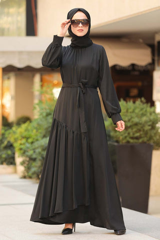 Women's Belted Black Modest Long Dress