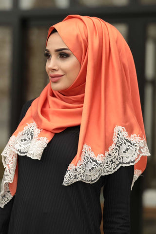 Women's Lace Detail Silk-like Shawl