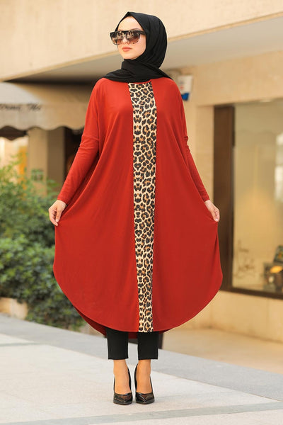 Women's Leopard Pattern Tile Red Modest Tunic