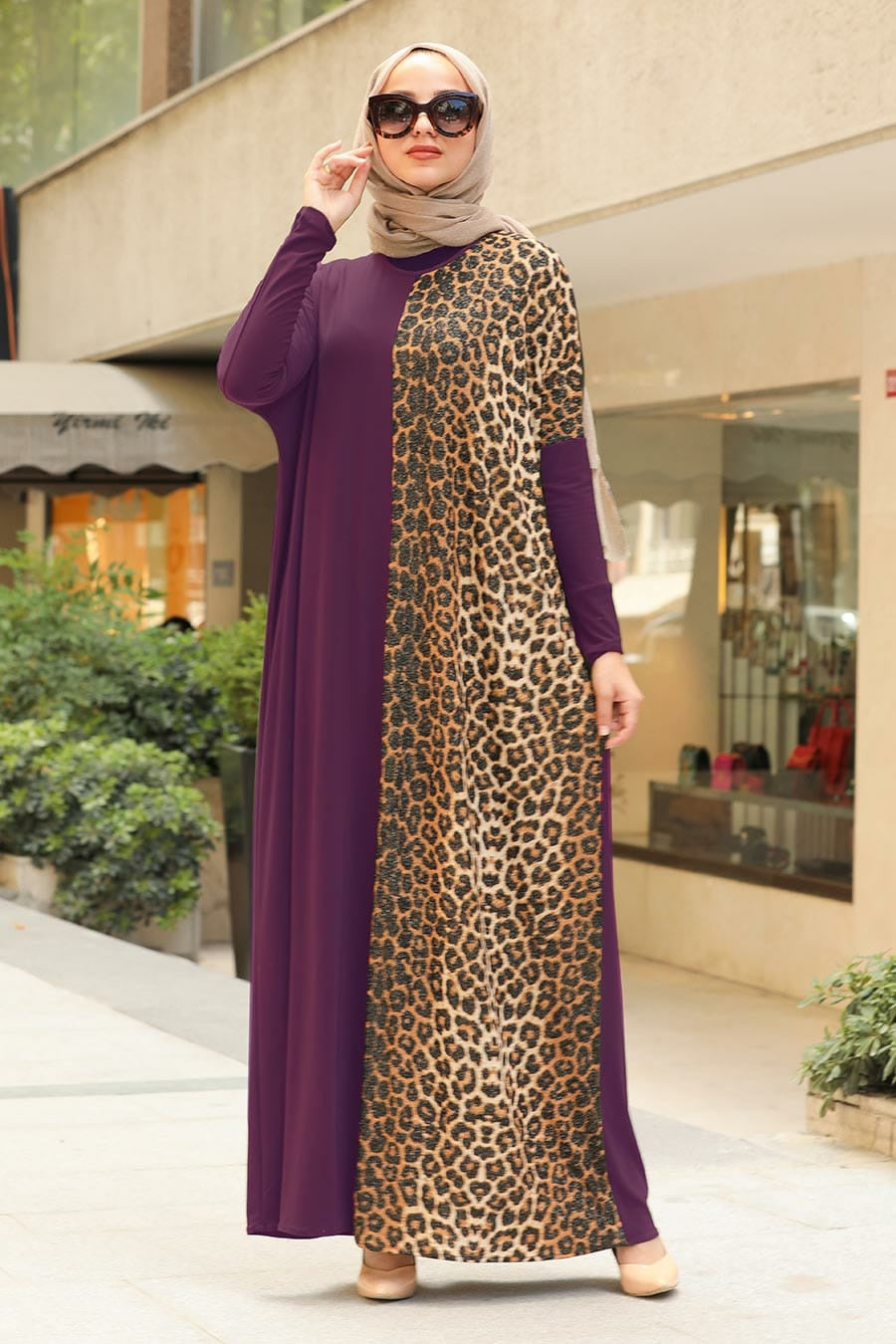 Women's Leopard Pattern Purple Modest Long Dress