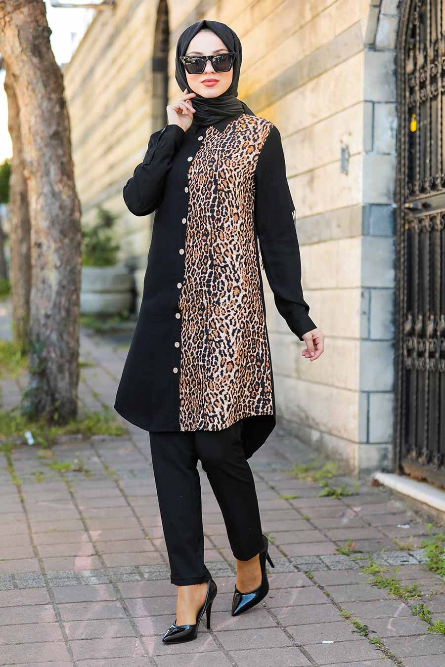 Women's Leopard Pattern Black Modest Tunic