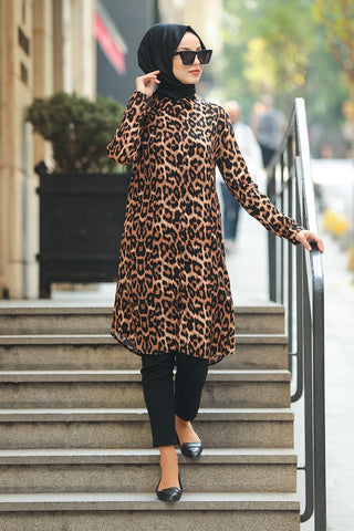 Women's Leopard Pattern Modest Tunic