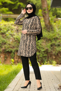 Women's Leopard Pattern Mink Modest Tunic