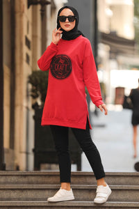 Women's Printed Red Modest Tunic