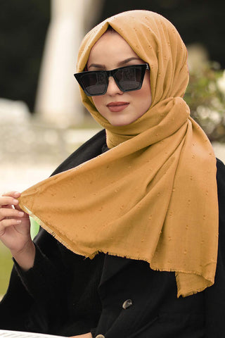 Women's Bobble Mustard Cotton Shawl