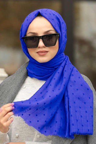 Women's Bobble Saxe Cotton Shawl