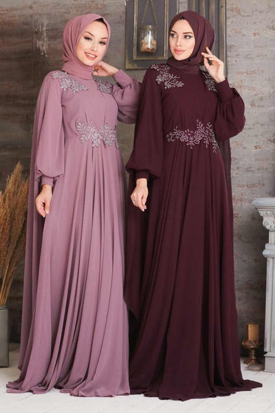 Women's Cape Detail Dusty Rose Modest Evening Dress