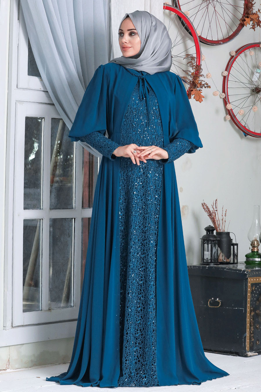 Women's Cape Accessory Indigo Modest Evening Dress