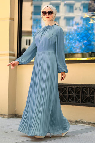 Women's Pleated Blue Modest Long Dress