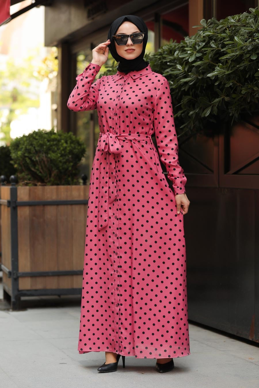 Women's Polka-Dot Pink Modest Dress