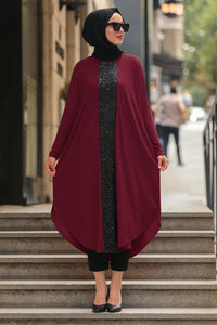 Women's Sequin Detail Claret Red Modest Tunic
