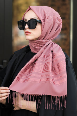 Women's Fringe Dusty Rose Chiffon Shawl