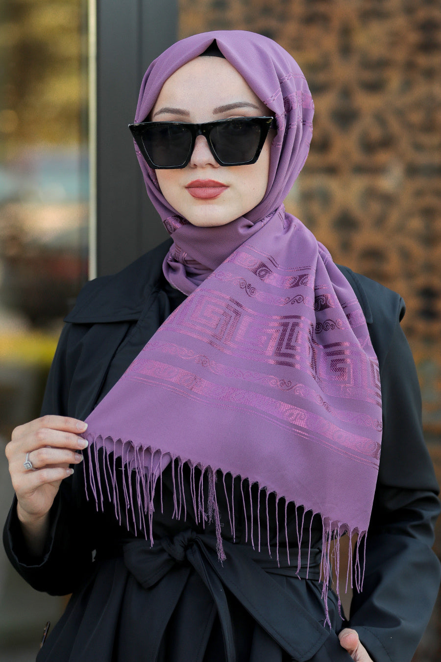 Women's Fringe Purple Chiffon Shawl