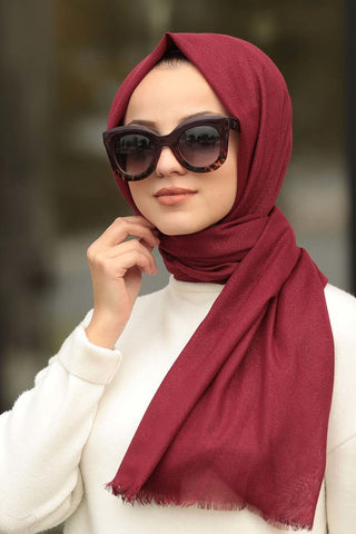 Women's Glitter Claret Red Cotton Shawl