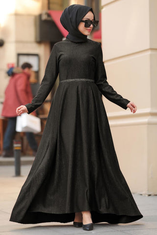 Women's Black Modest Long Dress