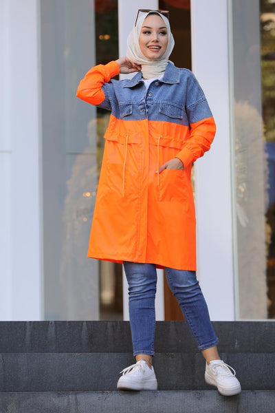 Women's Denim Detail Orange Modest Jacket