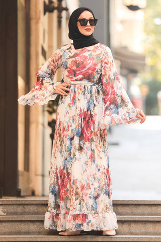 Women's Ruffle Sleeve Floral Pattern Modest Long Dress