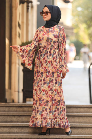 Women's Ruffle Sleeve Floral Pattern Beige Modest Long Dress